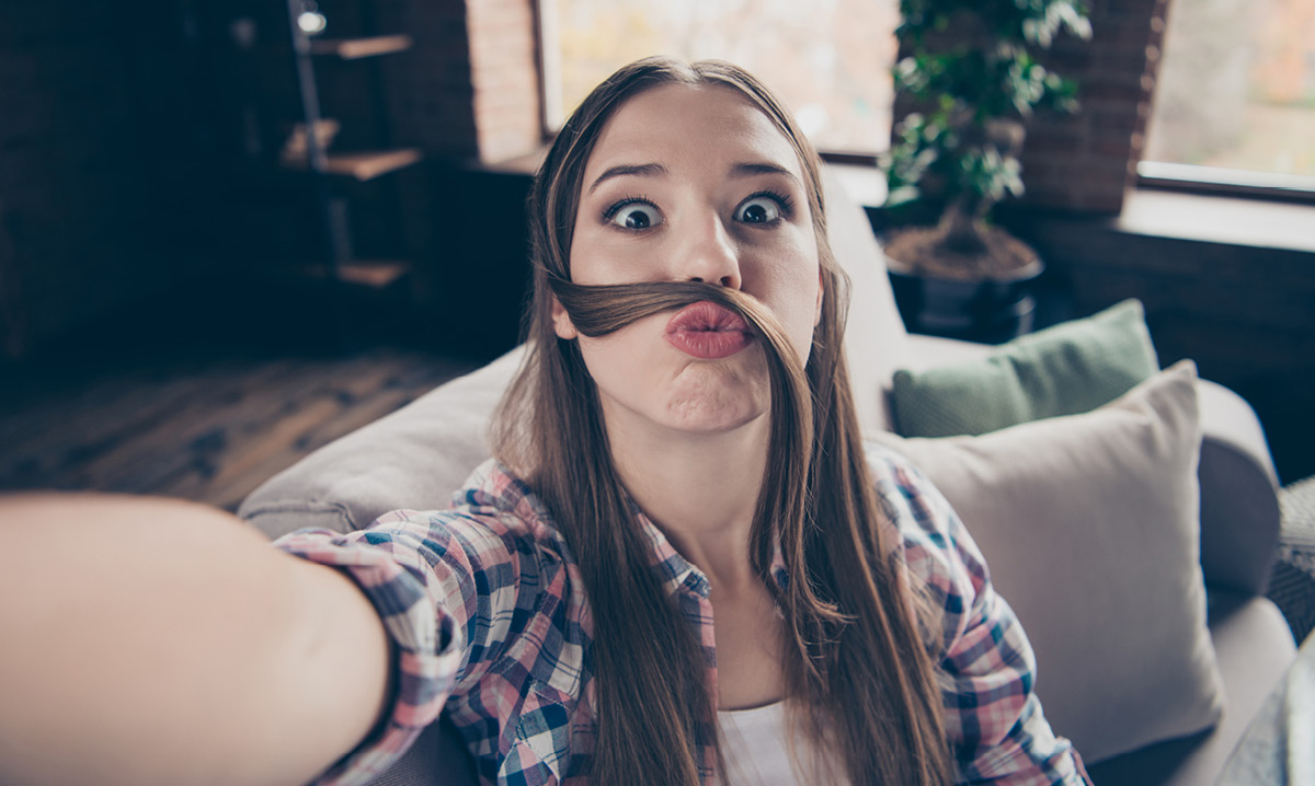 Teen girl making funny face