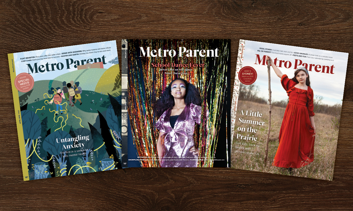 Three covers of Metro Parent on a brown background