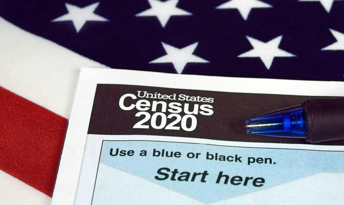 2020 census form on top of an American flag
