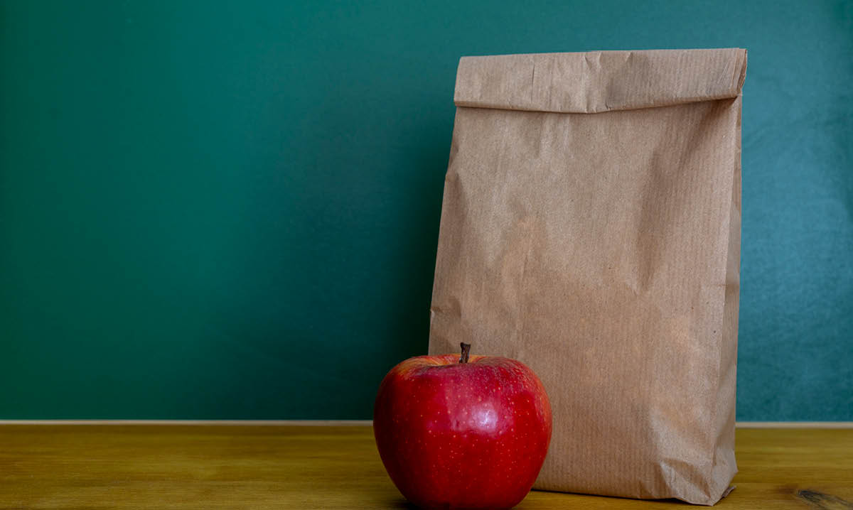 paper bag lunch on a teal background