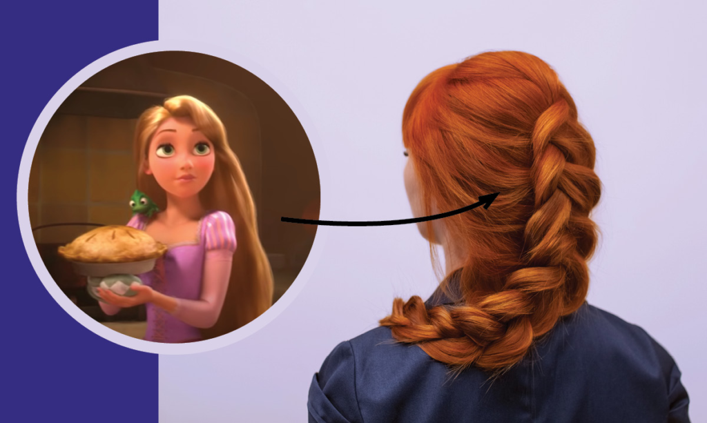 Image from frozen with an arrow pointing to a braid