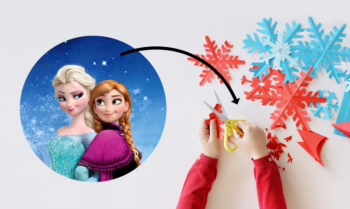 An image from frozen with an arrow pointing to paper snowflakes