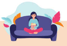 Illustration of a woman eating popcorn on her couch