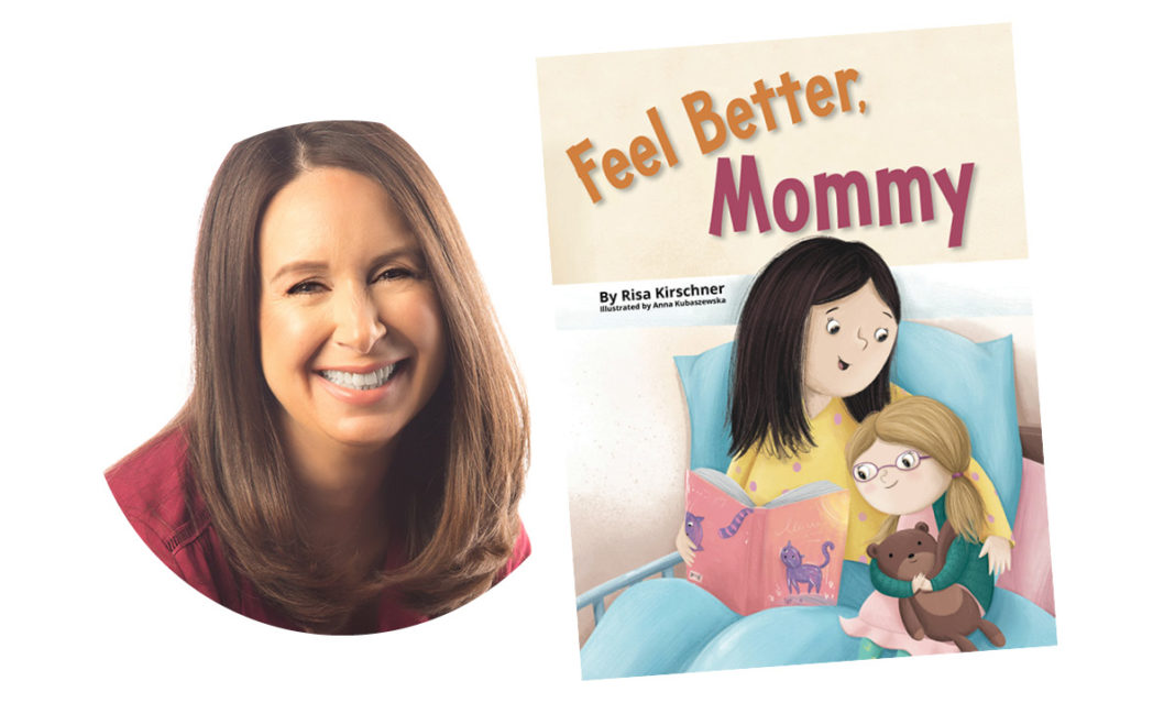 The author of feel better mommy next to a cover of the book