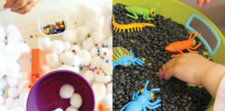 Collage of two sensory bin ideas