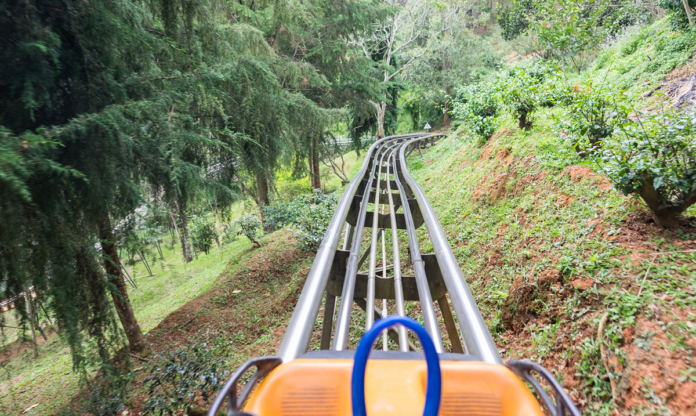 POV of a mountain coaster