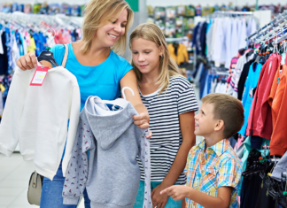 A mom shopping with her kids