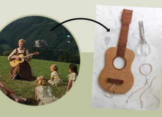 Image from The Sound of Music point to a guitar
