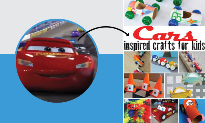 Lightning McQueen with an arrow pointing to Cars crafts