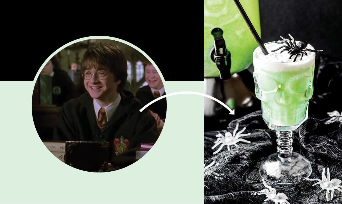 Image from Harry Potter pointing to a drink