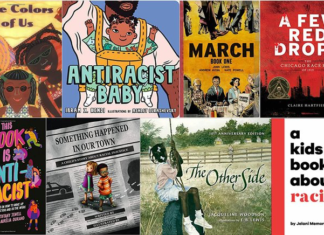A collage of books that explain racism to kids
