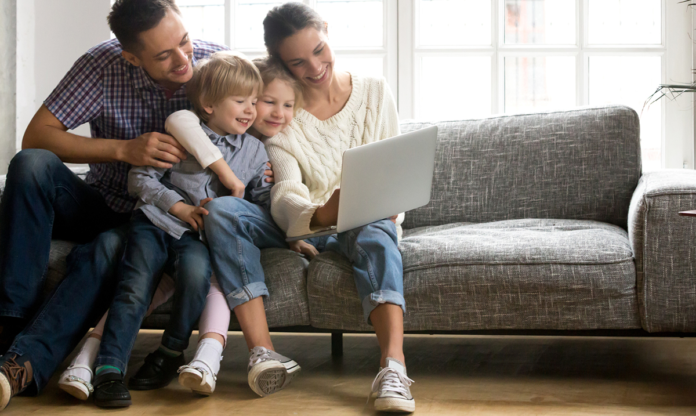 A family on their computer