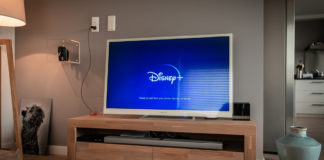 The opening scene from Disney+ on a TV