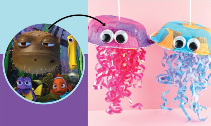 Image from Finding Nemo and arrow pointing to jellyfish craft