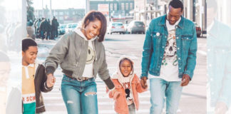 Mori and her family smiling as they walk down a street in Detroit