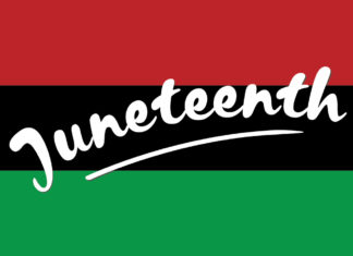 "The word ""Juneteenth"" on a red, black and green background"