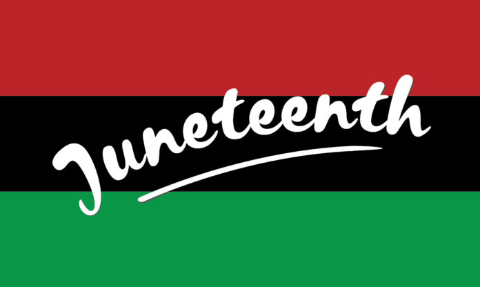 """The word """"Juneteenth"""" on a red, black and green background"""