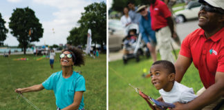 A collage of kids at the Detroit Kite Festival