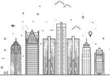 Illustration of the Detroit skyline
