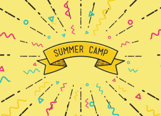 "A banner that says ""summer camps"" on a yellow background surrounded by confetti"
