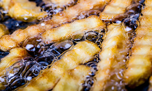 French fries in boiling oil
