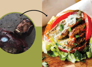 Image from The Avengers painting to a Shawarma