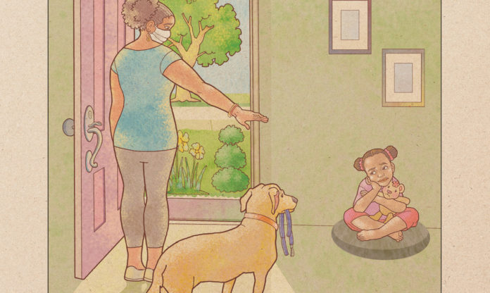 Illustration of a girl sitting in a corner while her mom points at her while wearing a mask