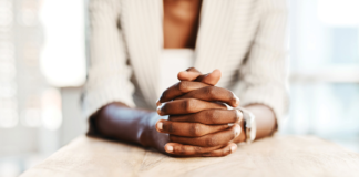 Woman folding her hands
