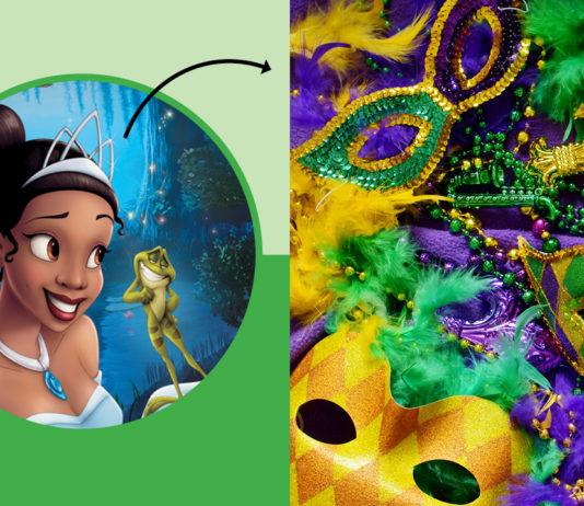 Tiana with an arrow pointing to Mardi Gras masks