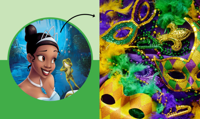 Tiana with an arrow pointing to Mardi Gras masks