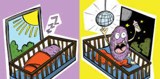 Illustration of a monster asleep during the day and awake at night