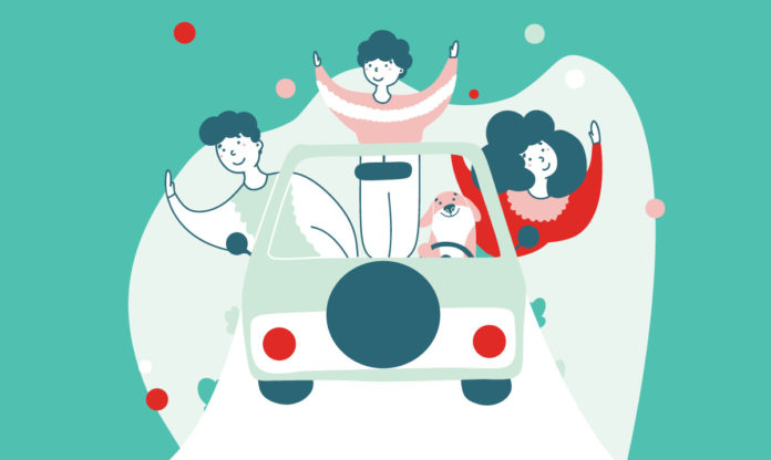Illustration of a family hanging out of a car