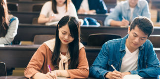Two students in a college class