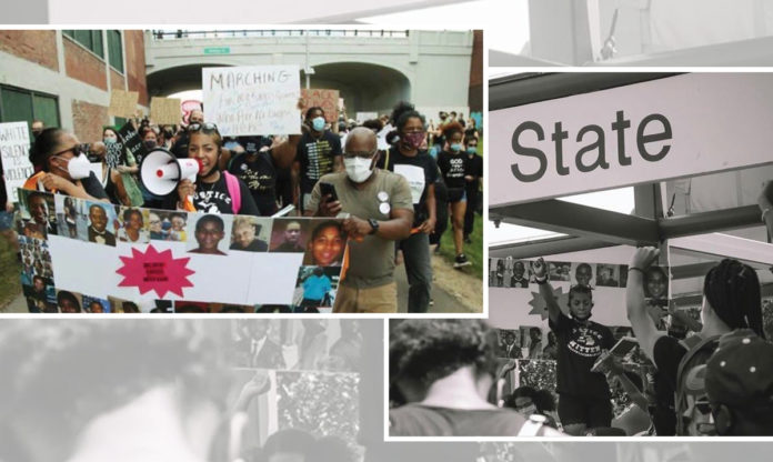 A collage of photos from Taylor Martin's protest