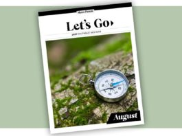 Cover of the August 2020 Let's Go Fun Guide on a pale green background