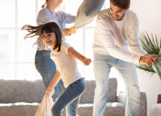 A family having a pillow fight