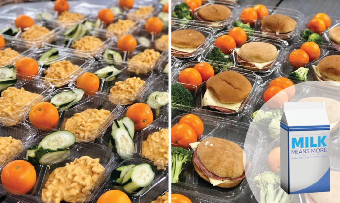 Close-up of school lunches