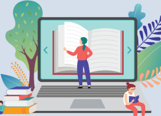 An illustration of a teacher reading a book on a computer screen