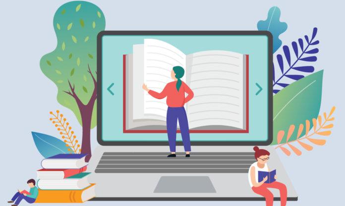 An illustration of a teacher reading a book on a computer screen