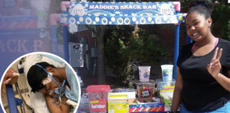 Maddie at her snack bar. A picture of Shane in the corner in a circle