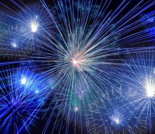Blue fireworks on a black background