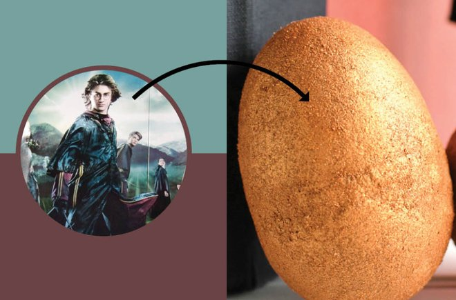 Image from Harry Potter with an arrow pointing to a golden dragon egg