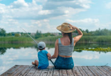 Woman and child fishing on a dock