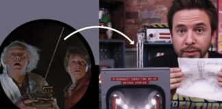 Image from Back to the future and an arrow pointing to an activity based on the movie