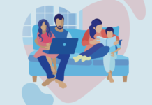 Illustration of a family on a couch