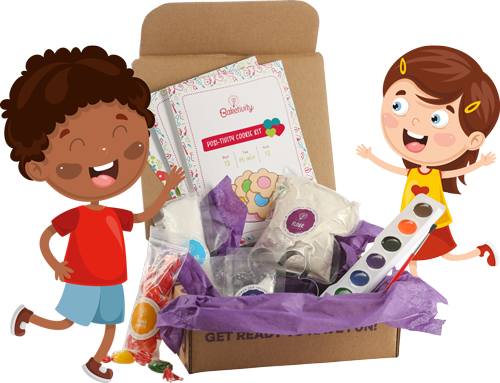 Illustration of two kids with the Baketivity cookie kit