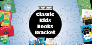 Bracket surrounded by kids books