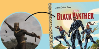 Scene from Black Panter with an arrow pointing to the cover of Black Panther from Little Golden Books