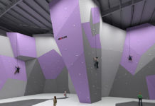 An image of the inside of dyne climbing gym