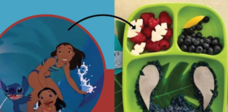 Image from Lilo & Stitch with an arrow pointing to a movie-inspired bento box